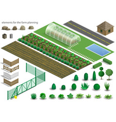 set of farm planning elements vector image vector image