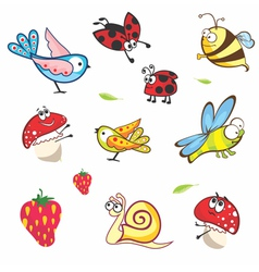 Set of funny spring animals for babies vector image