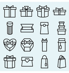 Set of linear icons packaging and gift box vector