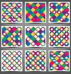 set of the seamless backgrounds with abstract vector image vector image
