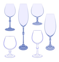 Six champaign wineglass blue crystal vector