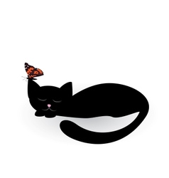 Sleeping black cat and butterfly vector