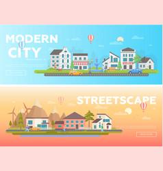 Streetscape - set of modern flat vector