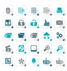 Stylized 25 detailed internet icons vector