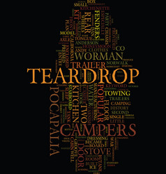 Teardrop campers text background word cloud vector