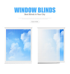 Two windows with blinds overlooking cloudy sky vector