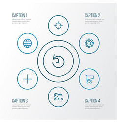 User outline icons set collection of target vector
