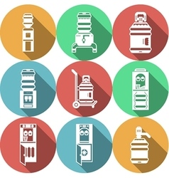Water coolers services colored icons vector