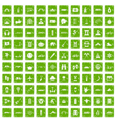 100 adventure icons set grunge green vector image vector image