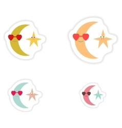 Set of paper stickers on white background moon and vector