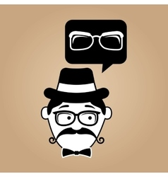 hipster style glasses vintage background retro vector image