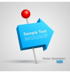 Blue arrow pushpin 3d vector