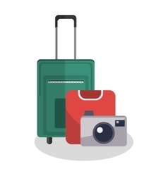 Isolated bag and camera of travel design vector