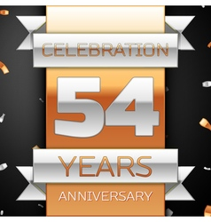 Fifty four years anniversary celebration golden vector
