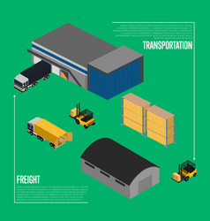 Freight transportation isometric concept vector