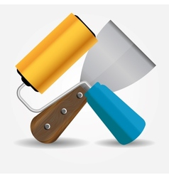 Paint roll and spatula icon vector