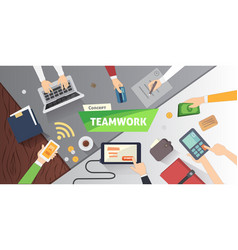 Business people team scene teamwork in modern vector