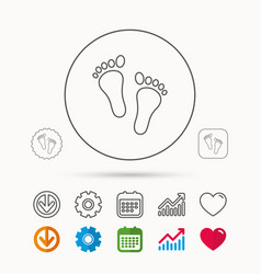 Baby footprints icon child feet sign vector