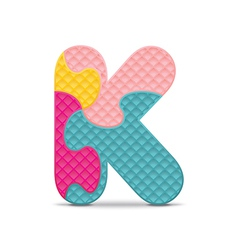 Letter k written with alphabet puzzle vector