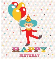 Happy birthday card with clown vector