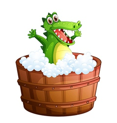 A crocodile taking a bath vector