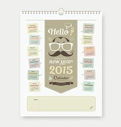 Calendar 2015 Fathers Day concept design vector image