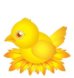 golden bird baby cartoon character with feather vector image