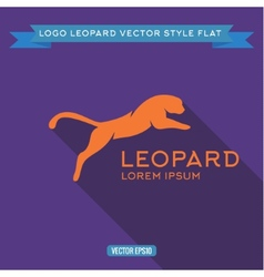 Logo wild felines into flat icon vector