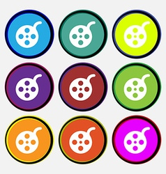 Film icon sign nine multi-colored round buttons vector