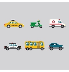 Transportation icon series in flat colors style vector