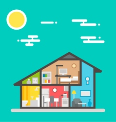 Flat design of house interior vector image