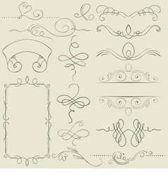 Set frames and borders hand drawing vector