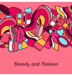 Beauty and fashion seamless pattern with cosmetic vector