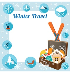 Suitcase with winter icons frame vector