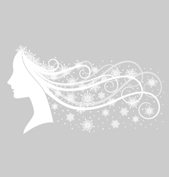 Girl with snowy hair vector