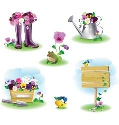 Garden objects set vector