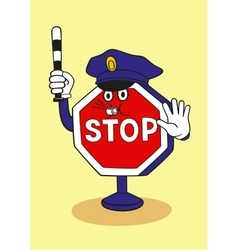Cartoon stop sign as a police officer vector