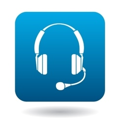 Headphones with microphone icon flat style vector