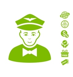 Airline steward icon with free bonus vector
