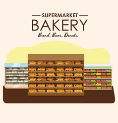 Bakery shelf with bread in supermarket big choice vector