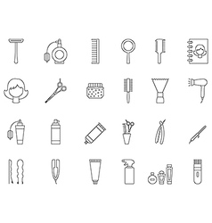 Barbershop black icons set vector image vector image
