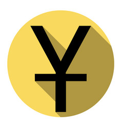 Chinese yuan sign flat black icon with vector