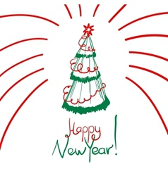 Christmas card with sketch new year tree vector