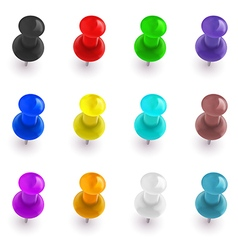 Collection of colorful office pins vector image vector image