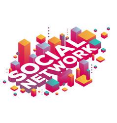 Creative of three dimensional word social network vector