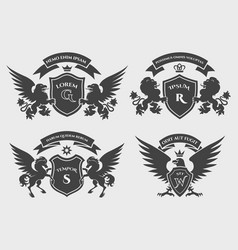 Crests logo set vector
