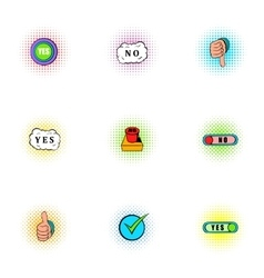 Cross and tick icons set pop-art style vector