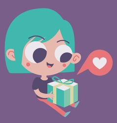 Cute girl in love holding a present vector