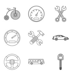 Defective machine icons set outline style vector