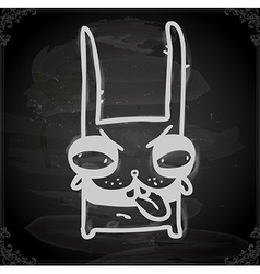 Evil bunny drawing on chalk board vector